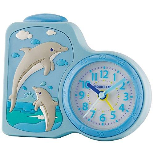 JACQUES FAREL Kinderwecker Delfine hellblau ohne Ticken, mit Licht und Snooze ACB 712 DO