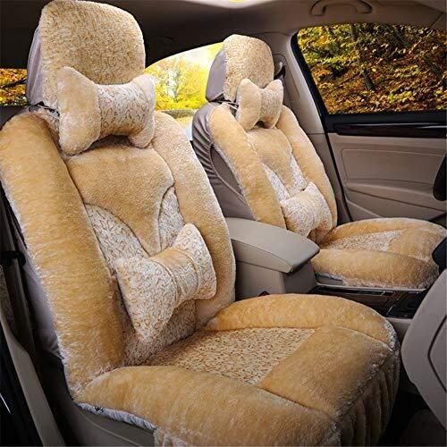 Preisvergleich Produktbild Winter Auto-Sitzkissen - 3D Plüsch bequeme warme Auto-Sitzabdeckung,  geeignet for die meisten Fünfsitzer Autos,  Beige
