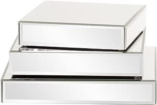 Howard Elliott Square Mirrored Product Display Platform Riser, 3 Piece