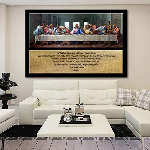 Frameloos Groot formaat olieverfschilderij foto beroemde schilderij het laatste avondmaal leonardo da vinci gedrukt olieverfschilderij op canvas voor de woonkamer <> 19.7x29.5inch