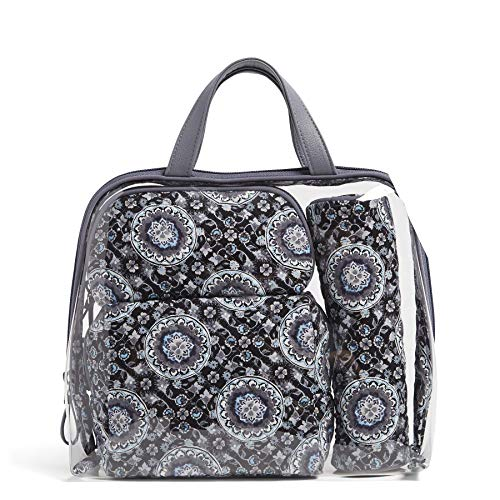Vera Bradley Women's 4 Piece Cosmetic Makeup Organizer Bag Set, Charcoal Medallion, One Size
