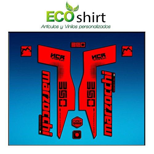 Ecoshirt YJ-3NJ6-R3U6 Autocollants Fork Marzocchi 350 NCR Titanium Am76 Autocollants Fourche Gabel Fourche Rouge