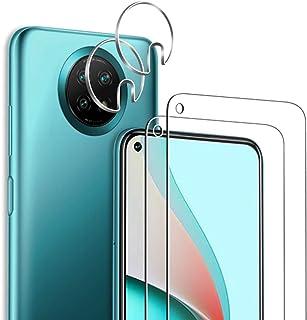 [4 عبوات] واقي الشاشة لهاتف Xiaomi Redmi Note 9 5G/Note 9T 5G (2 حزمة) مع 2 عبوة واقي لعدسات الكاميرا، مضاد لبصمات الأصابع...