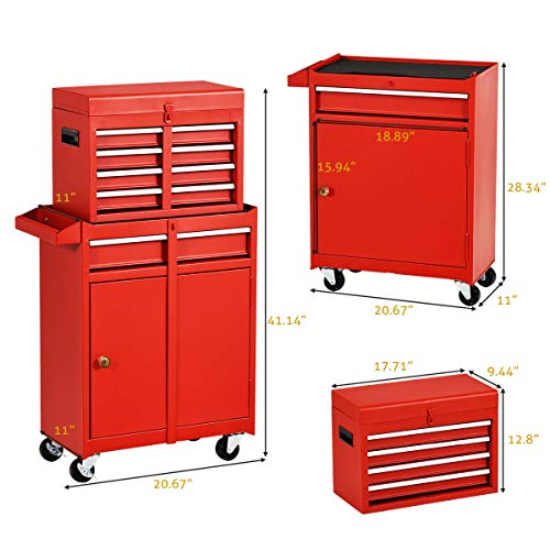 Big Rolling Tool Chest, Tool Chest with Drawers and Wheels Tool Cabinet Tool Storage Removable,Rolling Tool box with Lockable Drawers, Toolbox for Mechanics Garage Workshop (Red)