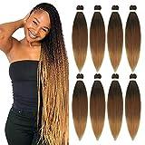 8 Packs Pre Stretched Braiding Hair 3 Tone Ombre Braiding Hair for...
