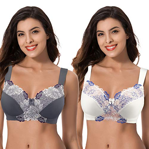 Curve Muse Women's Plus Size Minimizer Wireless Unlined Bra with Embroidery Lace-2Pack-BUTTERMILK,GRAY-40DDDD