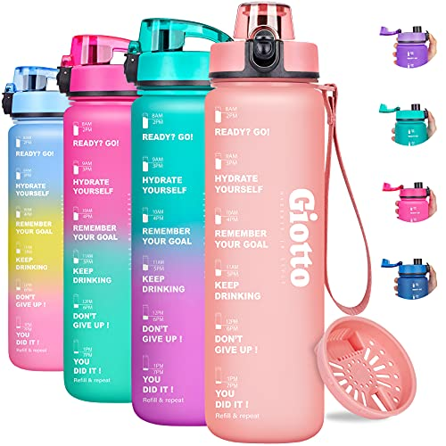 Giotto 32oz Motivational Water Bottle with Times &...