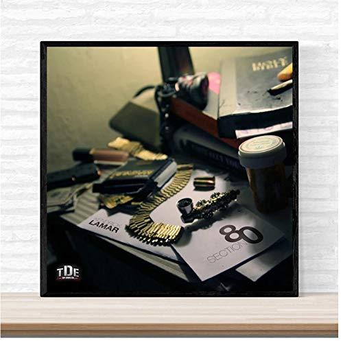 KONGQTE Kendrick Lamar Section 80 Music Album Cover Art Wall Canvas Painting Print Living Room Home decoration-24x24 inch No Frame