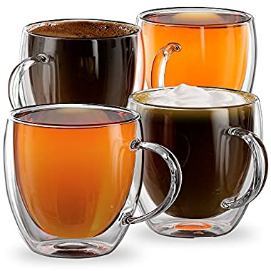 Stone & Mill Set of 4 Double Walled Glass Espresso Coffee Cups, 8.5 Ounce, Firenze Collection, Insulated Mugs for Latte, Cappuccino, Tea, Box Set AM-02