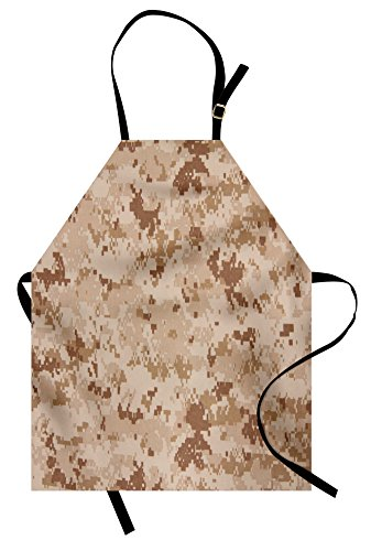 Ambesonne Camo Apron, US Marine Desert Marpat Digital Texture Background in Brown Colors, Unisex Kitchen Bib with Adjustable Neck for Cooking Gardening, Adult Size, Brown Cinnamon