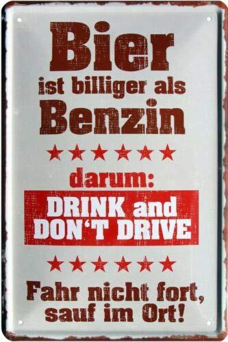 Bier is goedkoper dan benzine, daarom rijden 20 x 30 cm metalen bord 1709
