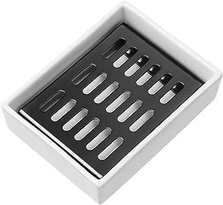 SANNO Ceramic Soap Dish Holder,Soap Saver Soap Holder Soap Tray Bar Soap Sponge Holder for Bathroom and Shower Double Layer Draining Soap Box (Black Chrome)