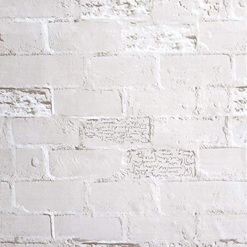Ksmsem 壁紙 レンガ ウォールデコシート はがせる壁紙 壁紙シール おしゃれ 無地 壁紙シート ウッド 北欧 男前 diy リメイク テーブル ドア 扉 部屋 リビング 洗面 トイレ キッチン 補修 防水 (60cm*5m, グレーと白)