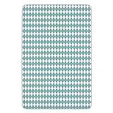 K0k2t0 Bathroom Bath Rug Kitchen Floor Mat Carpet,Sky Blue,Diamond Lines Shaped Stripes in Checkered Modern Rectangular Art Image,Light Blue and White,Flannel Microfiber Non-Slip Soft Absorbent