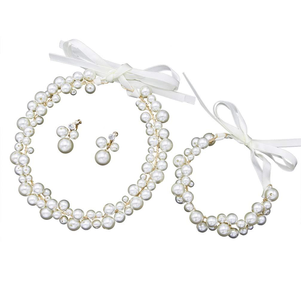 Minkissy Pearl Bridal Jewelry Sets Handmade Pearl Earring Headband Bracelet Elegant Decor for Women