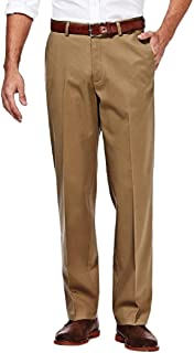 Haggar Mens HC10884 Premium No Iron Classic Fit Expandable Waist Plain Front Casual Pants