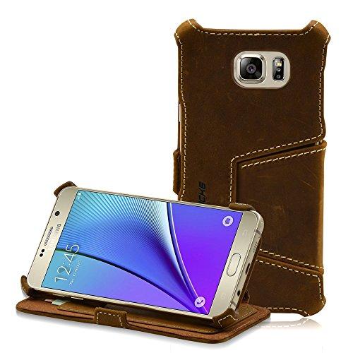 Manna UltraSlim Handyhülle, kompatibel mit Samsung Galaxy Note 5, Kartenfach, Aufstellbares Hülle, Microvlies gepolstert, Nubukleder Braun