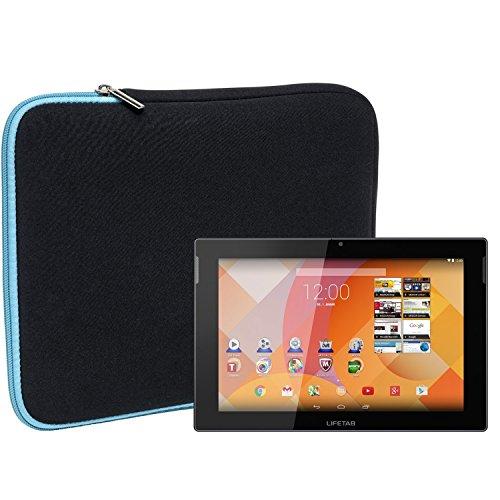 Slabo Tablet Tasche Schutzhülle für MEDION LIFETAB S10333 / S10334 / S10345 / S10346 (10,1 Zoll) Hülle Etui Hülle Phablet aus Neopren – TÜRKIS/SCHWARZ