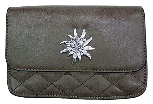 Trachtentasche Gesteppt mit Edelweiß Applikation Braun