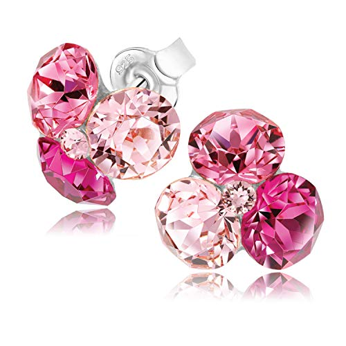 Chic Bijoux Stud Earrings for Women – Handmade with 4 Swarovski Crystals and 925 Sterling Silver for Sensitive Ears – Gift for Mum, Hypoallergenic, Pink