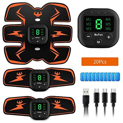 BuFan EMS Stimolatore Muscolare, 6 modalità e 10 Livelli di Intensità Elettrostimolatore per Addominali per Addome/Braccio/Gamba Uomo o Donna (20PCS Ricambio Gel Pezzi)