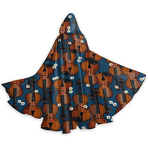 Niet geschikt viool en madeliefjes unisex capuchon lange mantel met capuchon Halloween Kerstmis Cosplay Party kostuum zwart
