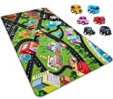 PartyKindom Kids Carpet Playmat Rug - Fun City Traffic Game Carpet with 6 Pack Pullback Cars - Learn & Have Fun & Educational Play Mat Rug Great for Children Bedroom Playroom Living Room(67''x35'')