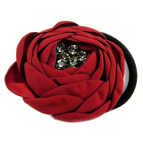 Les Trésors De Lily [P6088] - Elastique/Chouchou créateur 'Sissi' rouge (satin) - 65 mm