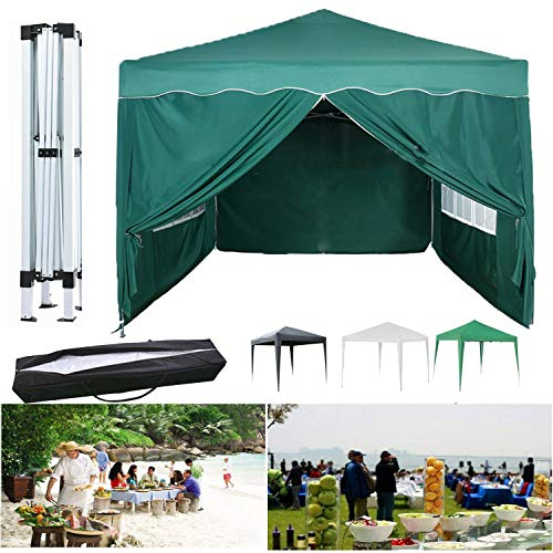 LDHS Pop Up Gazebo Heavy Duty, Steel Frame, PVC Coated, 3x3m Canopy Marquee Anti-UV Commercial Party Tent with 4 Removable Side Walls, For BBQ, Beer Party, Celebration, Green
