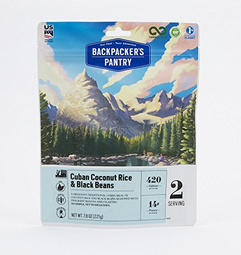 Backpacker's Pantry Cuban Coconut Rice & Black Beans, 2 Servings Per Pouch, Freeze Dried Food, 14 Grams of Protein, Vegan, Gluten Free