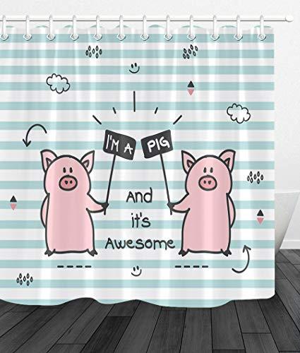 JYEJYRTEJ Zwei süße kleine Schweine Dekorativer Duschvorhang kann gewaschen & getrocknet Werden,12Haken,150X180cm,geeignet für Badezimmer