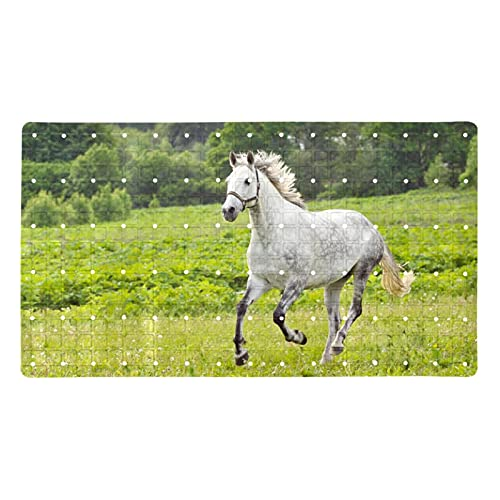 Bath Mat Non-Slip Grass White Horse Suction Cups Best Durable and Stylish in Bath Mats Anti-Slip Shower Mat with Modern Design Quality Suction Cups 15.7x27.9 in