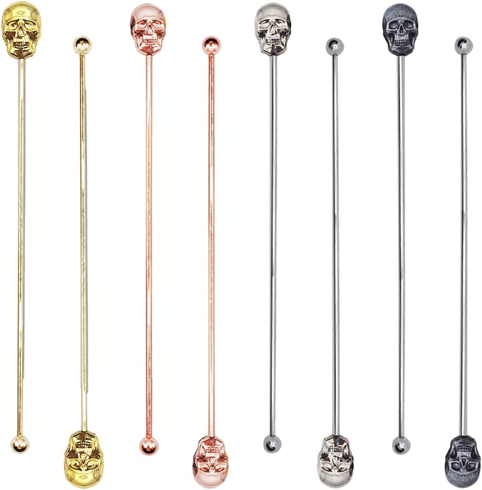 Yueya 8 Pcs Stainless Steel Coffee Stirrers Beverage Stir Sticks Drinking Swizzle Sticks with Skull Top for Mixing Cocktail, Whiskey, Fruit Juice (Mix)
