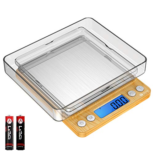 Brifit Digitale Küchenwaage, 500 g, Mini-Schmuckwaage, Kochen, Lebensmittelwaage mit LCD-Display mit Hintergrundbeleuchtung, 2 Ablagen, 6 Einheiten (Batterie im Lieferumfang enthalten)