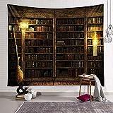 KHKJ Mágico Retro Chimenea estantería Tapiz Arte Tapiz Colgante de Pared sensación cálida Hermosa decoración del hogar A2 200x150cm