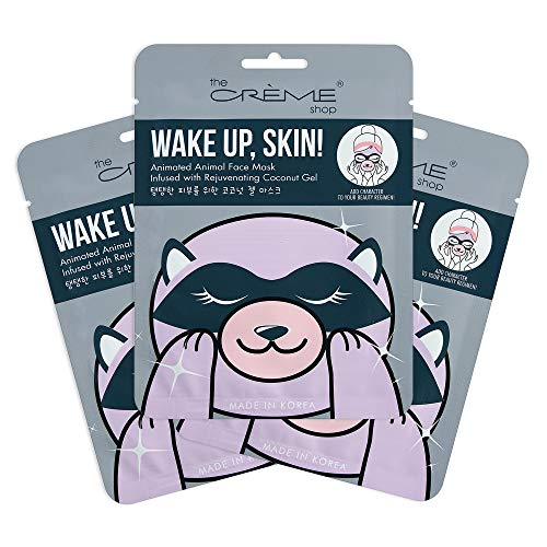 The Crème Shop | Korean Skin Care Wake Up, Skin! Animal Raccoon Face Sheet Mask 3 Pack - Infused with Rejuvenating Coconut Gel