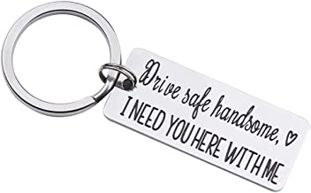 Drive Safe I Need You Here with Me Keychain for Husband Son Fathers Day Gifts Keychains for Boyfriend Dad Key Chain