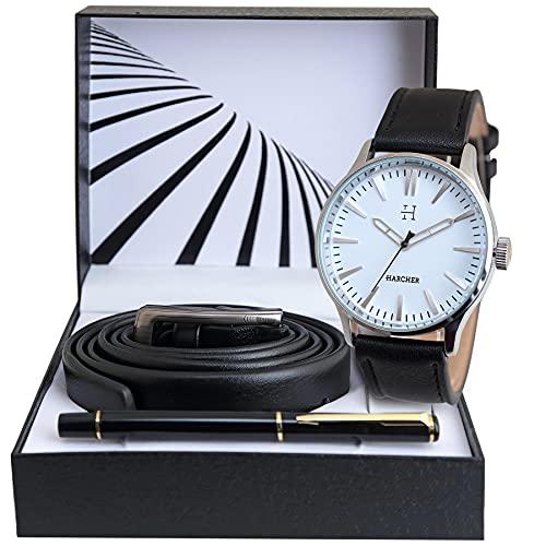 SKYLINE Caja de Reloj Hombre, Conjunto de Reloj Negro, Bolígrafo, Cinturón, Caja de Acero Inoxidable, Caja de Regalo Rígida, Regalo Ideal, Reloj Negro-Blanco