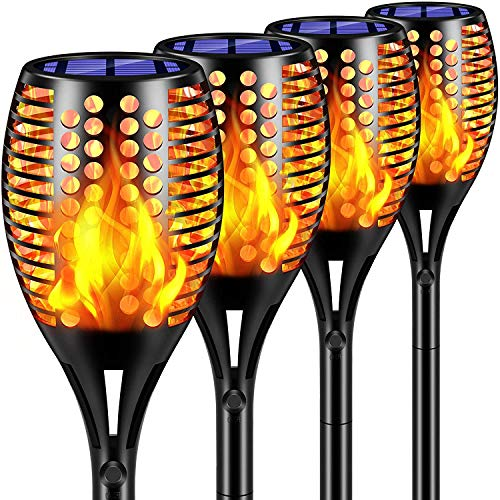 SIMPDIY 115CM Solar Flammenlicht, 4 Stück 96 LED Solarleuchte Garten IP65 Wasserdicht Solarlampe Gartenfackeln mit Realistischen Flammen Automatische EIN/Aus Außen Warmlicht(größer & länger)