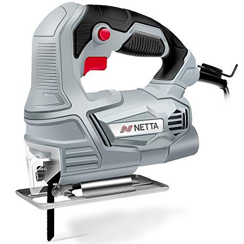 NETTA 400W Electric Jigsaw - Max Cutting Capacity Wood: 55mm, Steel: 5mm, PVC: 65mm - Adjustable Cutting Angle 0-45°
