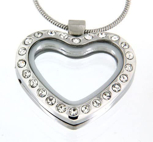 Clearly Charming Heart Locket Crystal Necklace for Floating Charms