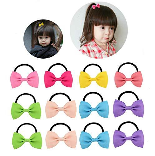 Elastische Haarbänder für Babys und Mädchen, mit Schleife, für Pferdeschwanz, 20 Stück