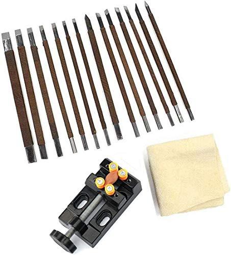 Set de herramientas de 18 piezas con cinceles de acero al manganeso para tallar/grabar piedra, cera de abeja y máquina de sujeción