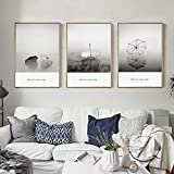WEDSA Canvas Painting Mural Wall Art Poster Modern Minimalist Canvas Painting Black White Print Decorative Picture for LivingRoom 40x50cmx3 No Frame