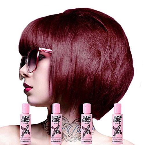 4 X Crazy Color Renbow Semi-Permanent Hair Colour Cream Dye 100ml Box of Four-Bordeaux