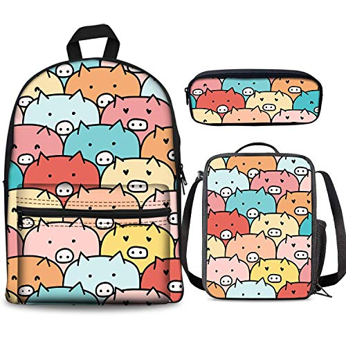 Funny Cartoon Pig Backpack Set 3 Piece 17 Inch Plus Book Bag Lunch Box Pencil Case for Boys Girls 1-6th Grade Kids Back to School