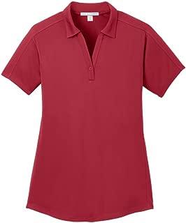 Ladies Diamond Jacquard Polo, Rich Red, Medium