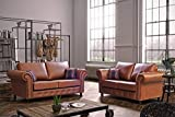 Honeypot - Sofa - Oakland - Faux Leather - 3 Seater - 2 Seater - Chair - Tan Suede - Cushions Included (3 2)