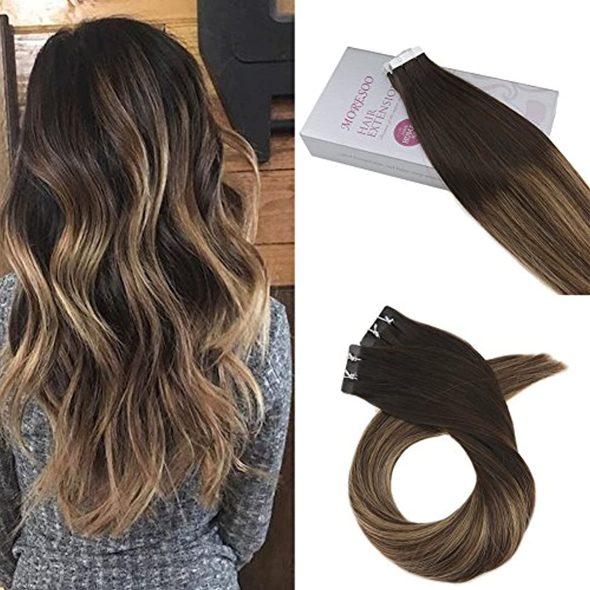 Moresoo 18 Inch Hair Extensions Tape in 20pcs/50g Balayage Colorful Off Black #1B to Brown #3 Highlighted with #27 Blonde Remy Human Hair Seamless Tape on Extensions Real Hair