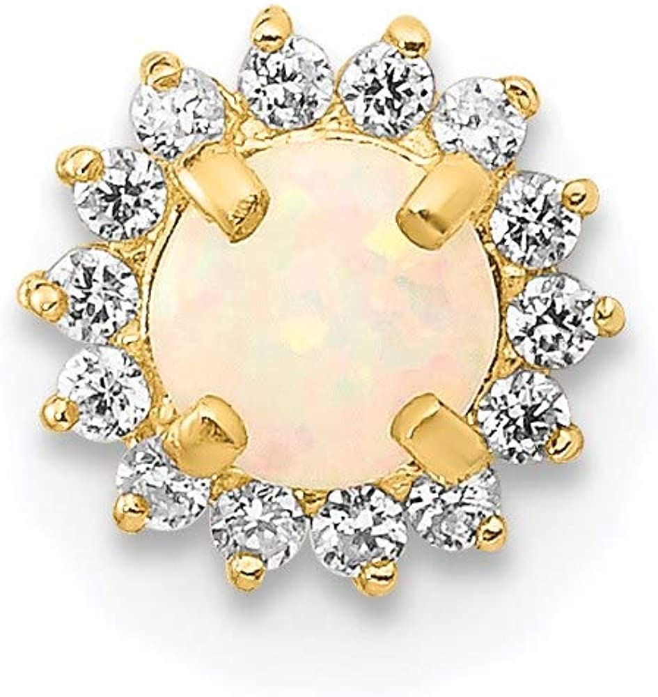 14k Bombing new work Yellow Gold Cubic Zirconia Car lowest price and Opal Synthetic Screw-Back